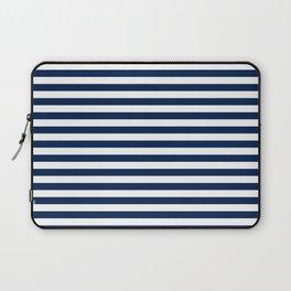 Slate blue and White Thin Stripes - Navy Nautical Pattern Laptop Sleeve