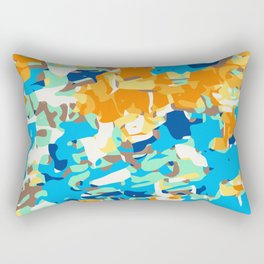 brown orange blue and dark blue dirty painting abstract background Rectangular Pillow