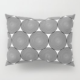 Hypnotic Black and White Circle Pattern - Digital Illustration - Graphic Design Pillow Sham