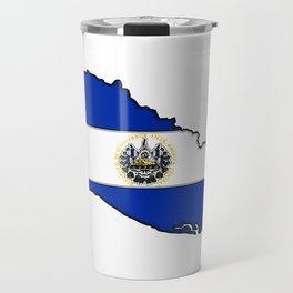 El Salvador Map with Salvadoran Flag Travel Mug