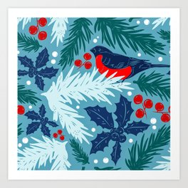 Christmas Tree With Bird and Holly Pattern Art Print