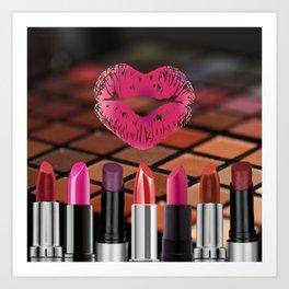 Makeup & Lipstick Heart Shaped Lip Print Art Print