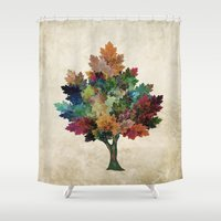 leslie knope Shower Curtains featuring Fall is Back! by Klara Acel