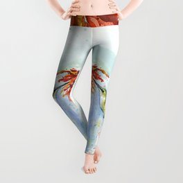Hummingbird Red Flower Watercolor Bird Leggings