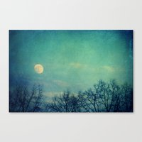 ice Canvas Prints featuring Ice Moon by Claudia Drossert