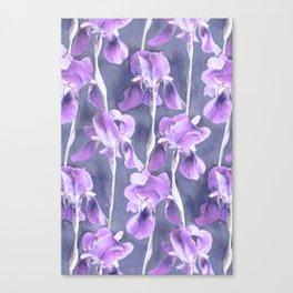 Simple Iris Pattern in Pastel Purple Canvas Print