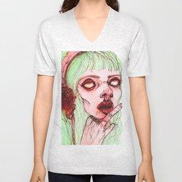 Pinky cute zombie girl Unisex V-Neck