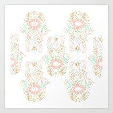 Modern girly pink mint gold Hamsa hand of fatima Art Print
