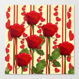 YELLOW SCARLET ROSES & RED VALENTINE HEARTS Canvas Print