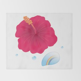 Hibiscus and Rainbow reflected in a Drop of water_R Throw Blanket