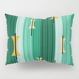 Groovy Lined Mid Century Modern Turquoise Pillow Sham