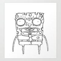 spongebob Art Prints featuring Spongebob by Marc Iwasykiw