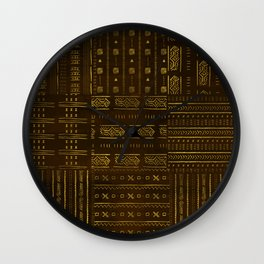 Gold African Tribal Pattern on rich brown texture Wall Clock