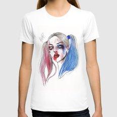 Margot as Harley quinn Fan art MEDIUM White Womens Fitted Tee