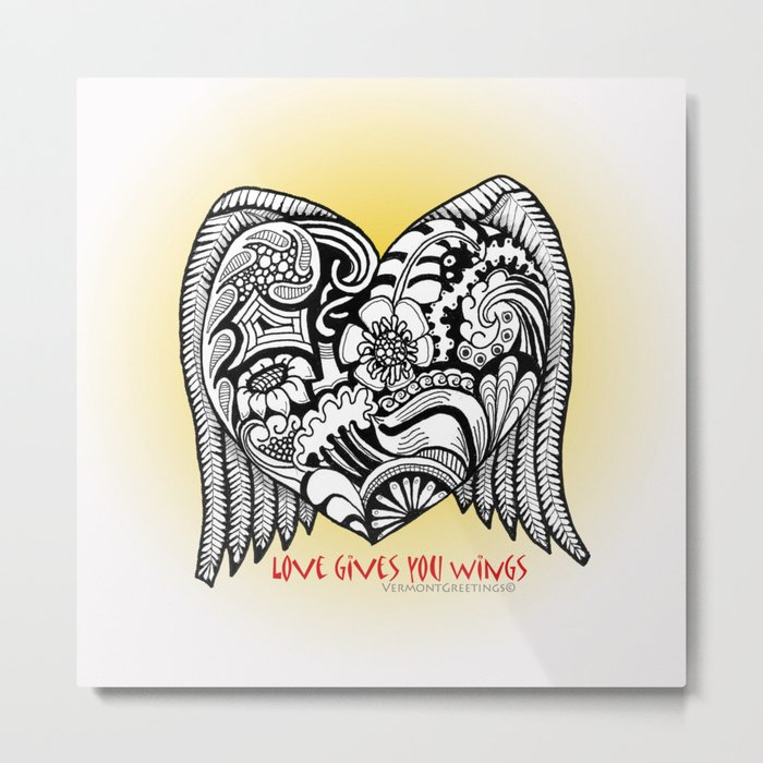Love Gives You Wings A Zentangle Illustration for Lovers Metal Print