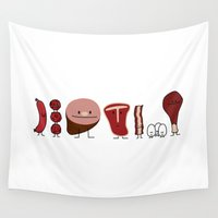 meat Wall Tapestries featuring Happy Meat Family by Berenice Limon