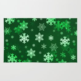 Dark Green Snowflakes Rug