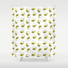 Great Bumble Bee Pattern Shower Curtain