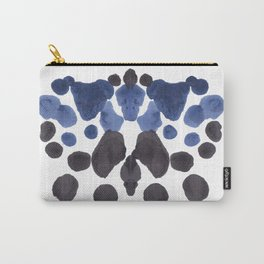Rorschach Inkblot Diagram Psychology Abstract Symmetry Colorful Watercolor Art Navy Blue Black Carry-All Pouch