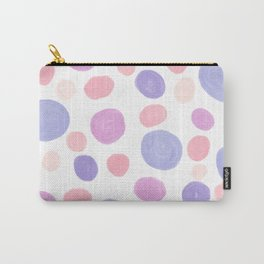 Modern abstract geometrical pink lilac watercolor polka dots Carry-All Pouch