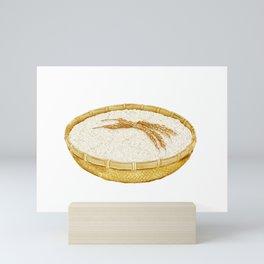 Watercolor Illustration of A bamboo basket of rice Mini Art Print