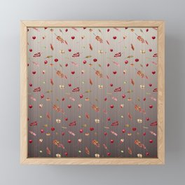 Red Berries and Bronze Flowers Framed Mini Art Print
