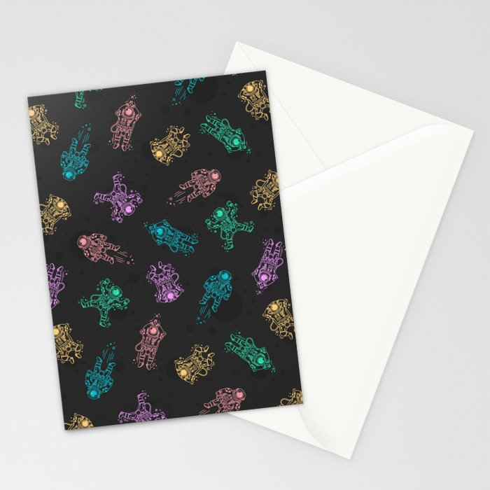 Cosmic Stranger Pattern in Neon Stationery Cards