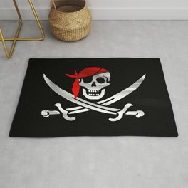 Jolly Roger pirate waving flag with skull and swords with red bandana on a silk drape  Rug