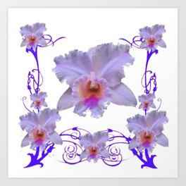 WHITE CATTLEYA ORCHIDS & PURPLE  ART Art Print