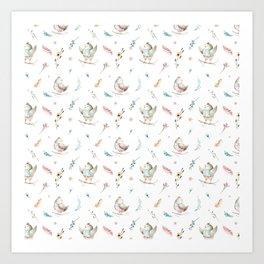 Hand painted pink teal watercolor bohemian bird floral pattern Art Print