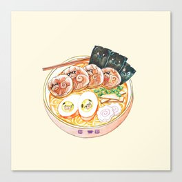 Ramen Pugs Watercolor Canvas Print