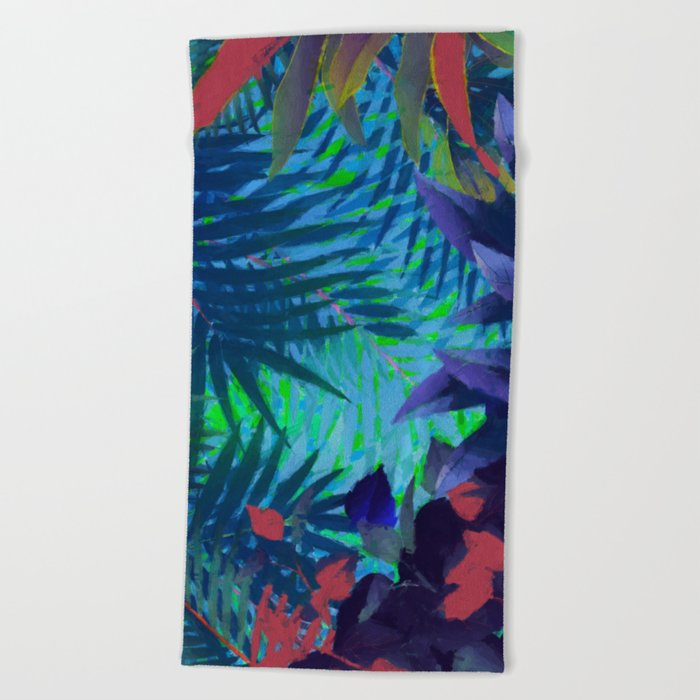 Colorful abstract palm leaves Beach Towel