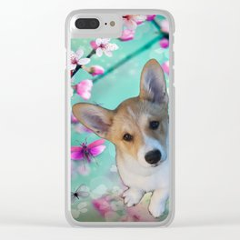 cuty cute corgi puppy of the queen of england Elisabeth, spring blue pink flower power blossom Clear iPhone Case
