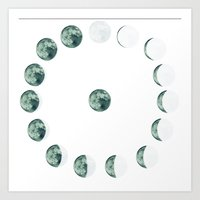 moon phases Art Prints featuring Phases by Hope