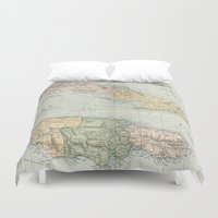 jamaica Duvet Covers featuring Vintage Map of Cuba and Jamaica (1892)  by BravuraMedia