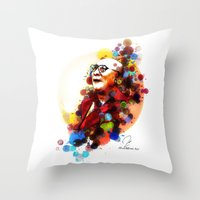 lama Throw Pillows featuring Dalai Lama by Rene Alberto