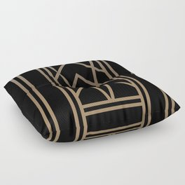 BLACK AND GOLD 2 (abstract art deco geometric) Floor Pillow