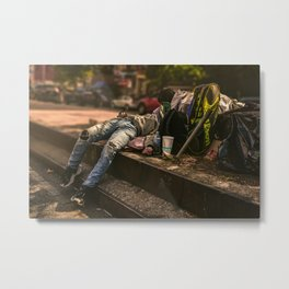 A homeless man on the streets of New York (2020-9-AME-117) Metal Print