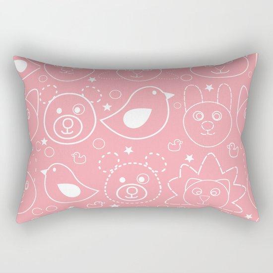 Baby Animals Coral Rectangular Pillow