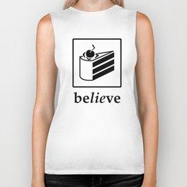 Believe in the Cake (black text) Biker Tank