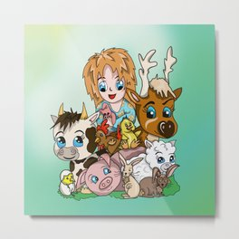 Happy Farm Sanctuary Friends with a Cute Vegan Girl Metal Print