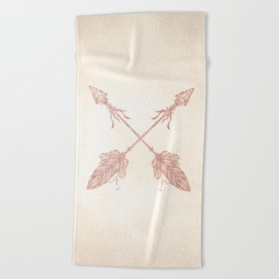 Tribal Arrows Rose Gold on Paper Beach Towel