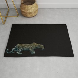Leopard sneaking up Rug