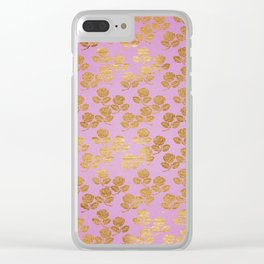 Pink and Faux Gold Foil Roses Clear iPhone Case