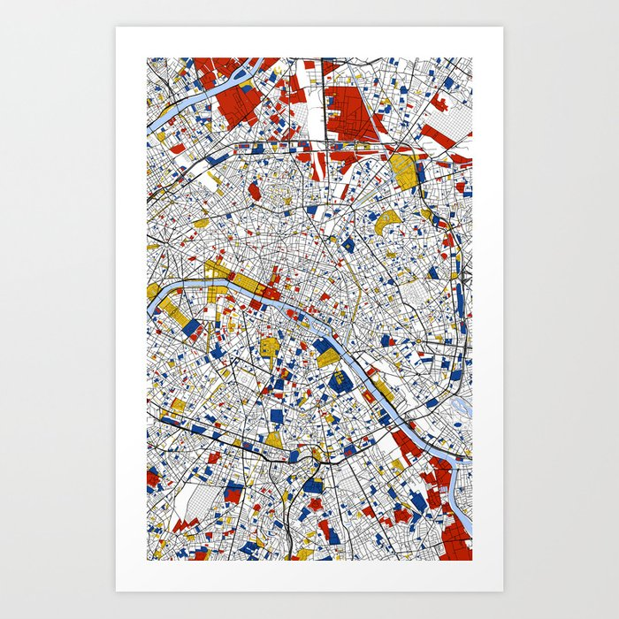 Paris Mondrian Map Art Art Print By Mondrianmapart Society6