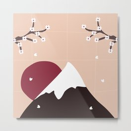 Mount Fuji at sunset and cherry blossoms Metal Print