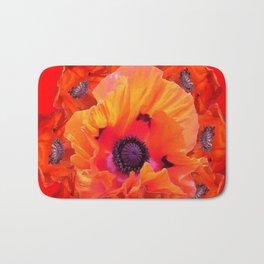 MODERN  RED-ORANGE POPPY FLOWERS  PATTERNS Bath Mat