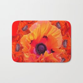 MODERN  RED-ORANGE POPPY FLOWERS  PATTERNS Bath Mat