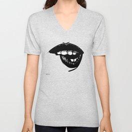 Biting Lip by zombiecraig Unisex V-Neck