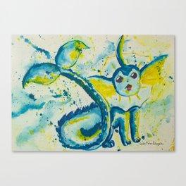 Splash Watercolor Vaporeon Eeveelution Canvas Print
